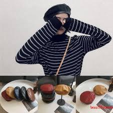 X-<b>2019</b> New Girl female <b>PU leather</b> beret peas skull cap retro ...