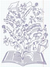 knowledge background open book education elements handdrawn design