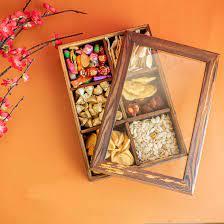 Khay, Hộp Đựng Bánh Kẹo, Mứt Tết Hình Chữ Nhật Bằng Gỗ