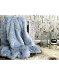 baby blue faux fur throw