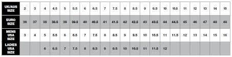 Bates Women S Boots Size Chart Sizing Charts On Koolstuff Australia