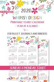 2020 Year At A Glance Calendar Template 2020 One Page Bullet Journal Calendar Printable Cute Press Print Party