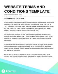 Free Terms Conditions Templates Downloadable Samples On Website ...