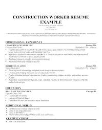 Resume For Construction Worker Sample Resume Construction Worker