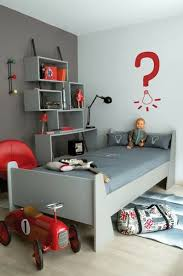 gray and red bedroom. color inspiration: gray + red and bedroom e