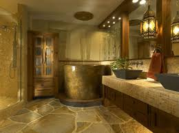 African Inspired Master Bathroom with Japanese Soaking Tub Shower Combo  Design
