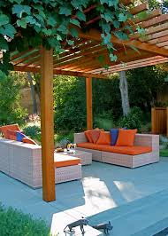 modern patio decorating ideas. Brilliant Modern Pool And Patio Decorating Ideas On A Budget   Chairs With Orange  Blue Covers In Modern Outdoor Patio Decor Ideas With Decorating G