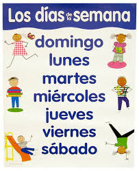 Days Of The Week Chart Spanish Basic Skills Chart Days Of The Week