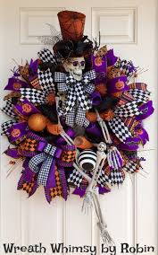 XL Halloween Deco Mesh Skeleton Wreath in Purple, Black & Orange, Front  Door Wreath, Fall Wreath, Halloween Decor, Whimsical Skeleton