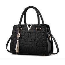 crocodile pattern genuine leather handbag