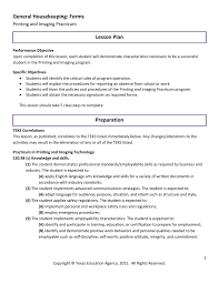 General Housekeeping Forms Lesson Plan Printing And Imaging
