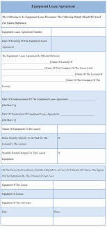 Equipment Lease Form Template Blank Rental Agreement Inspirational Interesting Equipment Lease And 23