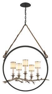 troy f3445 drift circular 5 lamp 40 inch tall rustic bronze pendant lighting loading zoom