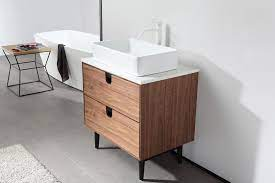 Portree 30 Walnut Mid Century Freestanding Bathroom Vanity Kartonrepublic