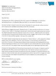 Celebration Letter Montana Film Office Letter Of Support Bozeman Film Celebration 23