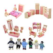 dolls furniture set. Wooden Doll Furniture Set Bathroom Bedroom Kitchen Miniature Dollhouse For Kids Children Pretend Play Educational Dolls