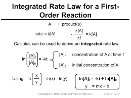 16 integrated rate law for a first order reaction