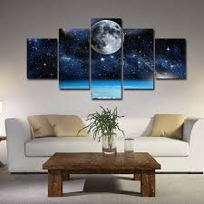 office artwork canvas. Contemporary Artwork Wish  5 Pieces Frameless Wall Art Painting Print Modern Space Canvas  Moon Paintings Decor For Living Room Home Office Artwork Decoration  With Canvas S