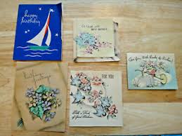 5 Vintage 1940s Small Birthday Cards Flowers Blur Birds