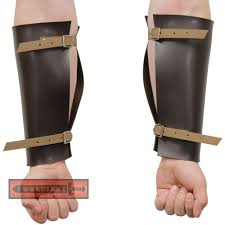 viking warrior thor norse leather bracers nordic arm guard brown steel buckles