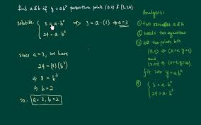 find an exponential equation find a b if y ab x p through 0 3 and 3 24