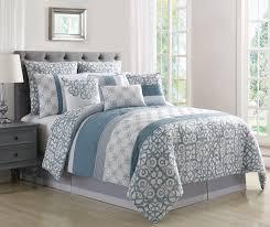 10 piece tatiana blue gray white comforter set queen
