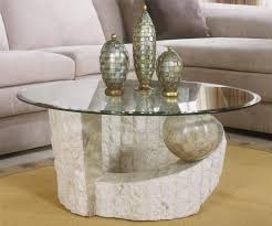 stone coffee table with glass top image and description