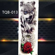 2pcs New Temporary Tattoo Sticker Full Arm Flower Waterproof Tattoo Body Art Big Large Peacock Skull Rose Fake Tattoo