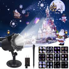 Christmas Animated Laser Light Remote Control Christmas Laser Projector Indoor Outdoor 12 Patterns Animation Effect Snowflake Snowman Christmas Projector Light