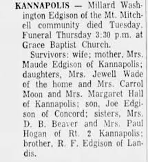 Obituary for Millard Washington Edgison - Newspapers.com