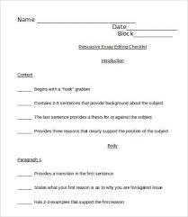 persuasive essay sample example format  persuasive essay editing checklist