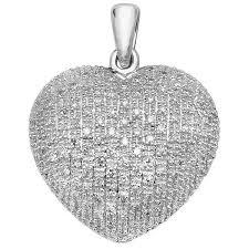 pave set diamond heart pendant in 9ct