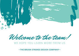 Welcome Card Templates Purple And Blue Brush Strokes Border Welcome Card