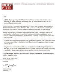 Analysis Of A Donor Appeal Letter From The Tenement Museum In New