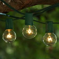 Mini Globe String Lights Battery Operated 25 Ft Green C9 String Light With G40 Clear Bulbs
