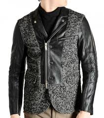 dsquared2 black textured wool leather jacket