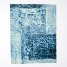 distressed rococo wool rug blue lagoon west elm distressed wool rug ivory charcoal