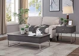 Weathered gray oak & metal Amazon Com Acme Furniture Coffee Table Gray Oak And Chrome Furniture Decor