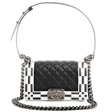 black and white chanel bags. chanel small boy quilted bag in black with checkerboard trim image 1 and white bags