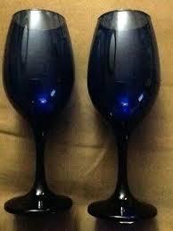 two new cobalt blue wine glasses dollar tree