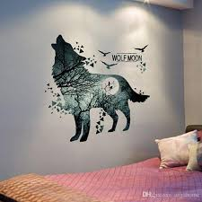 wolf moon forest wall sticker pvc material modern diy wall decor for living room bedroom decoration mural art wall art stickers wall clings from