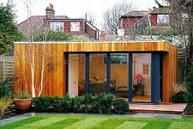 outside home office. this studio clad in western red cedar with solid wooden flooring starts at outside home office