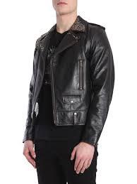 saint lau men s black studded leather biker jacket
