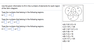 Use The Given Information To Fill In The Number Of Elements For Each Region In The Venn Diagram Solved Use The Given Information To Fill In The Numbers O