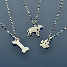 puppy love dog paw print and dog bone charm necklaces