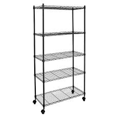 pesters 5 tier heavy duty wire shelving on wheels 5 shelves unit commercial steel shelving systems storage rack for pantry closet kitchen laundry