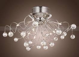 modern contemporary crystal chrome flush mount chandelier