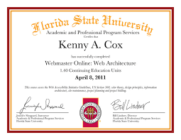 kenny alexander cox msc florida state university academic and professional webmaster program 2007 2011