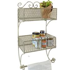 vintage style wall mounted basket storage rack