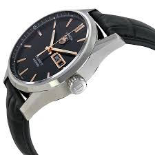 tag heuer carrera automatic black dial black leather mens watch 7612533109117 watch shape